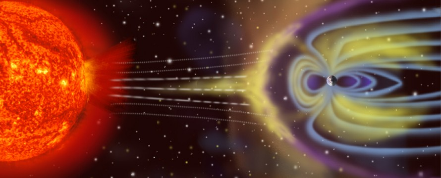 Artist's depiction of solar wind particles interacting with Earth's magnetosphere. Sizes are not to scale. Taken from: http://en.wikipedia.org/wiki/Geomagnetic_storm